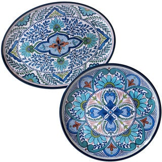 Certified International Nancy Green \u0027Talavera\u0027 Floral White Blue and Green Melamine Round  sc 1 st  Overstock.com & Blue Dinnerware For Less | Overstock
