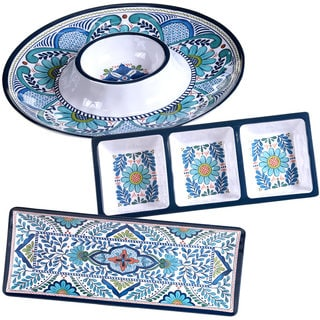 Certified International Talavera Multicolored Melamine 3-piece Hostess Serving Set