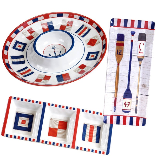 Certified International Nautique Red, White, and Blue Melamine Serving Set (Pack of 3)