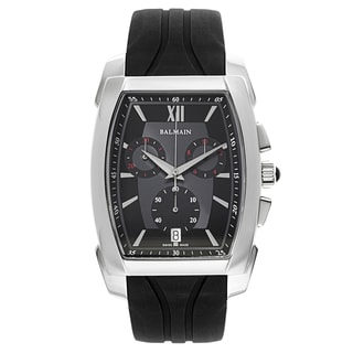 Balmain Arcade Silvertone and Black Rubber Men's Watch