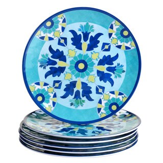 Certified International Granada Blue/Yellow Melamine Floral-pattern 11-inch Dinner Plates (Pack of 6)
