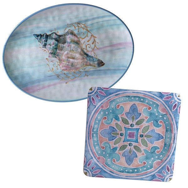Certified International Ocean Dream Blue, Pink, and White Melamine Platters (Set of 2)