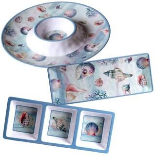 Certified International Ocean Dream White/Blue/Pink Melamine Hostess Serving Set (Pack of 3)