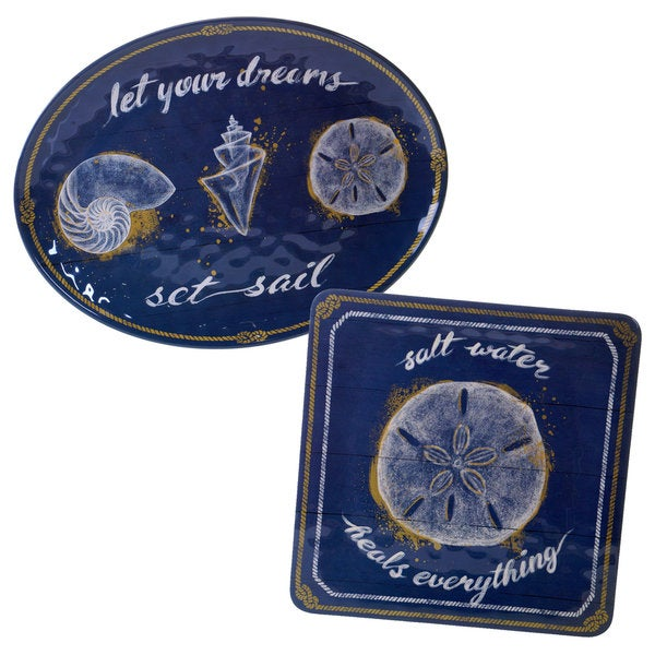 Certified International Calm Seas Blue, White, and Yellow Melamine Serving Platters (Set of 2)