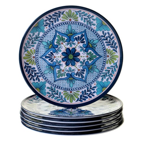 Certified International Talavera Blue/White Melamine Dinner Plates (Set of 6)