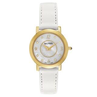 Balmain Elegance Goldtone and White Satin Women's Watch