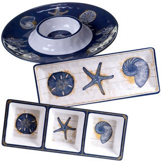 Certified International Calm Seas White, Blue, and Yellow Melamine Hostess Serving Set (Pack of 3)