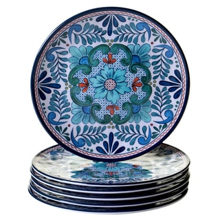 Certified International Talavera Blue, White, and Red Melamine Salad Plates (Pack of 6)