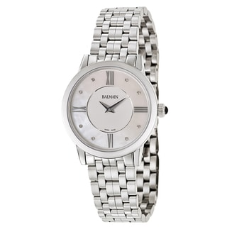 Balmain Men's Eria Stainless Steel Diamond Accent Mother-of-pearl Dial Swiss Quartz Movement Watch