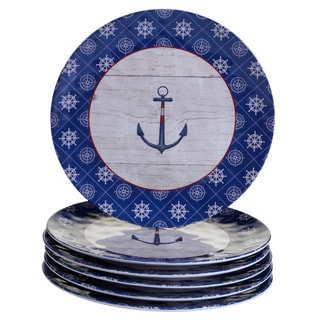 Certified International Blue Melamine Nautique Dinner Plates (Pack of 6)