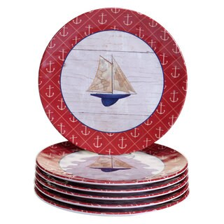 Certified International Nautique White/Red Melamine Salad Plates (Set of 6)