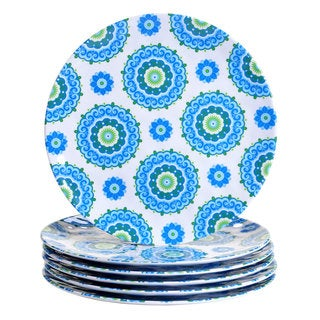 Certified International Blue and White Melamine Boho Dinner Plates (Pack of 6)