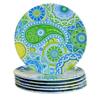 Certified International Boho Blue, Green, and Yellow Melamine Salad Plates (Pack of 6)