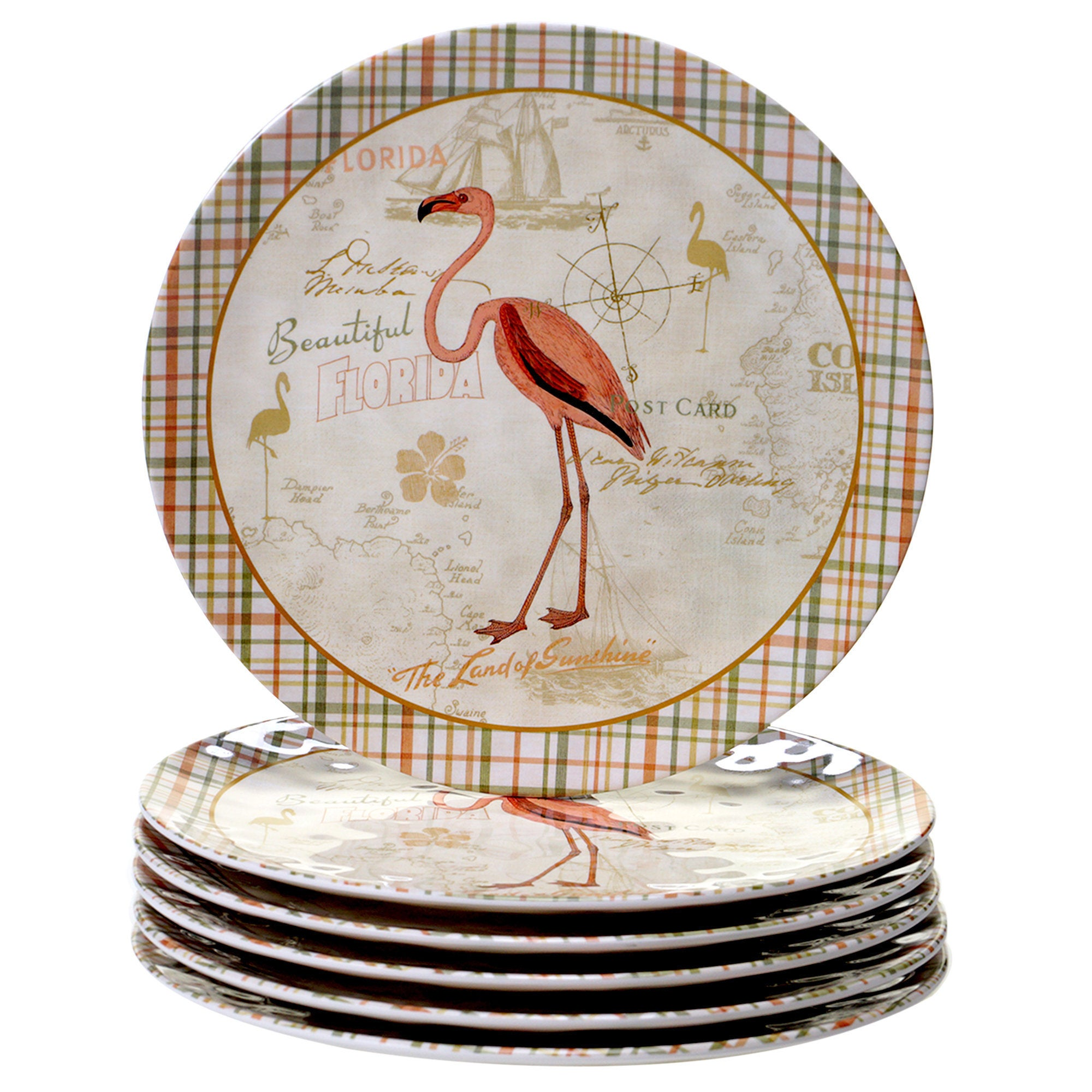 Certified Intl Floridian Pink, Green, and Gold-tone Dinne...