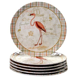 Certified International Floridian Pink, Green, and Gold-tone Dinner Plates (Pack of 6)