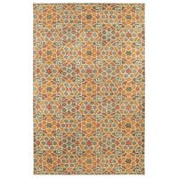 Hand-Tufted Lola Mosaic Orange Wool Rug - 5' x 7'9