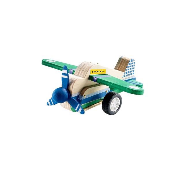 Reeves Kids' Unisex Stanley Jr. Wood, Plastic, and Metal Pull-back Airplane Building Kit