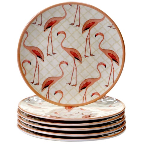 Certified International Floridian Flamingo Melamine Round Salad Plates (Pack of 6)