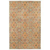 "Hand-Tufted Lola Mosaic Orange Wool Rug - 3'6"" x 5'6"""