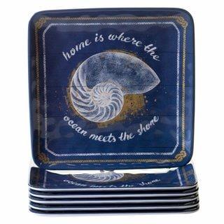 Certified International Calm Seas Blue Melamine Square Salad Plates (Pack of 6)
