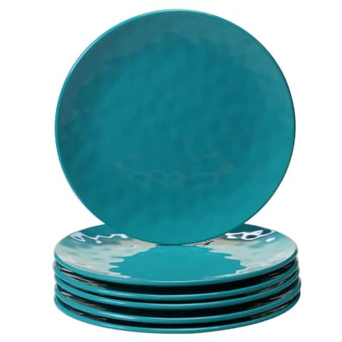 Certified International Solid Teal 9-inch Salad Plates, Set of 6
