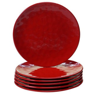 Certified International Red Melamine Round Salad Plates (Pack of 6)