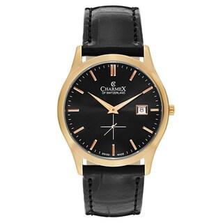 Charmex Men's Ascot Stainless Steel Case Goldtone Accent Black Leather Strap Swiss Quartz Movement Watch
