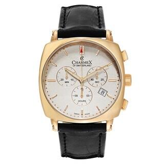 Charmex Vintage Men's 2420 Black Leather Watch