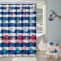 Mi Zone Kids Under the Sea Navy Printed Shower Curtain