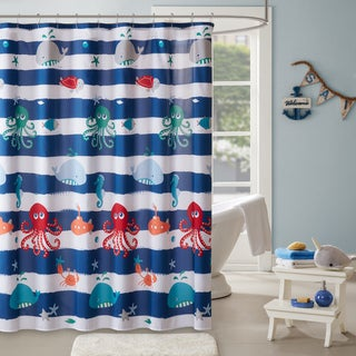 Marvelous Mi Zone Kids Under The Sea Navy Printed Shower Curtain