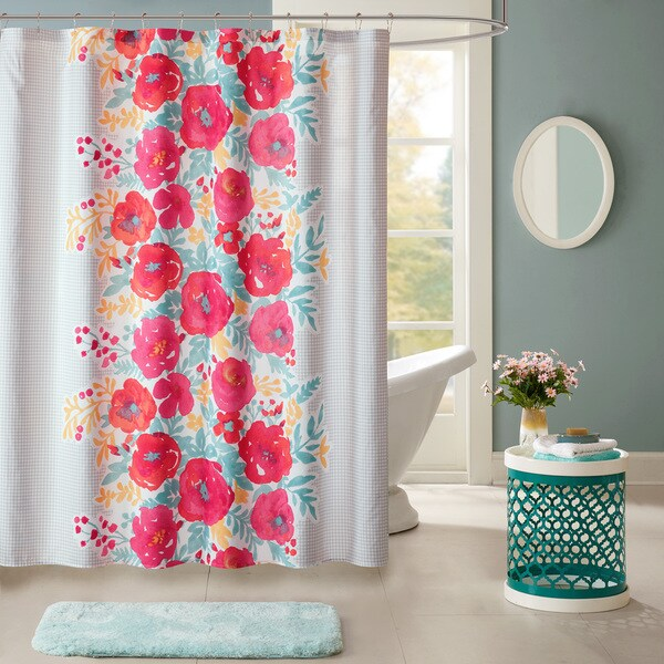 Intelligent Design Mina Coral Printed Shower Curtain