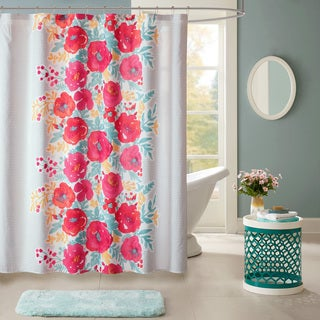 Intelligent Design Mina Coral Printed Shower Curtain