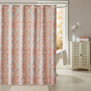 Madison Park Addison Coral Cotton Printed Shower Curtain
