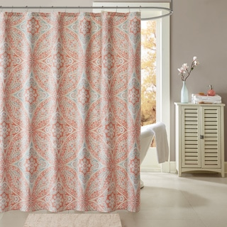 Madison Park Addison Coral Cotton Printed Shower Curtain - Thumbnail 0