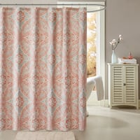 Palm Canyon Anzuelo Coral Cotton Printed Shower Curtain