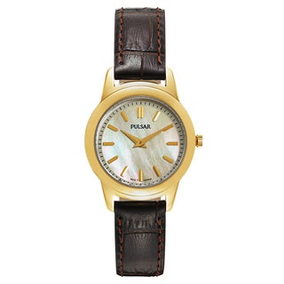 Pulsar Women's Business PRW014 Goldtone Dial Brown Leather Watch
