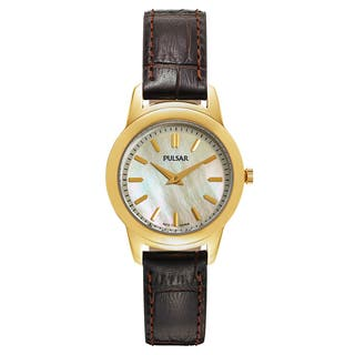 Pulsar Women's Business PRW014 Goldtone Dial Brown Leather Watch|https://ak1.ostkcdn.com/images/products/14200530/P20795737.jpg?impolicy=medium