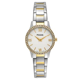 Pulsar Easy Style Women's Stainless Steel TwoTone Crystal Watch|https://ak1.ostkcdn.com/images/products/14200537/P20795743.jpg?impolicy=medium