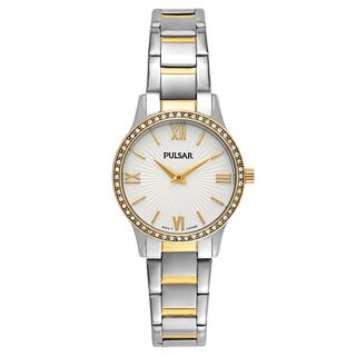 Pulsar Easy Style Women's Stainless Steel TwoTone Crystal Watch