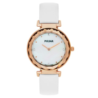 Pulsar Night Out Women's Mother of Pearl Leather Strap Watch