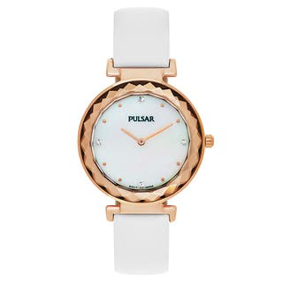 Pulsar Night Out Women's Mother of Pearl Leather Strap Watch|https://ak1.ostkcdn.com/images/products/14200539/P20795745.jpg?impolicy=medium