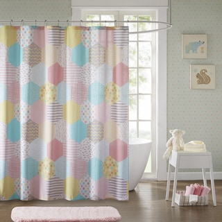 Urban Habitat Kids Evie Yellow/ Pink Cotton Printed Shower Curtain