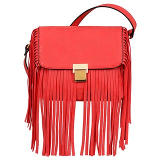 Mellow World Ahri Red Faux Leather Fringe Crossbody Bag