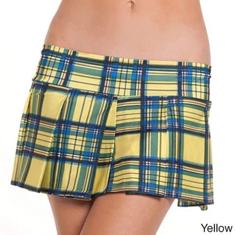 Women's Pleated Plaid Mini Skirt