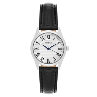 Pulsar Traditional Women's PG2017 Silvertone Dial Black Leather Strap Watch