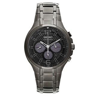 Seiko Recraft Series Men's Black Stainless Steel Chronograph Watch