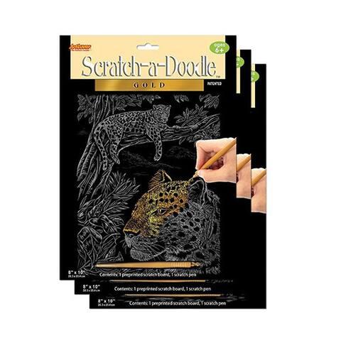 Artlover Scratch-A-Doodle Gold Art Kit (Set of 3)