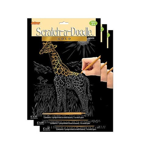 ArtLover Animal-themed Gold Scratch-a-Doodle Activity Kit (3 Sheets)
