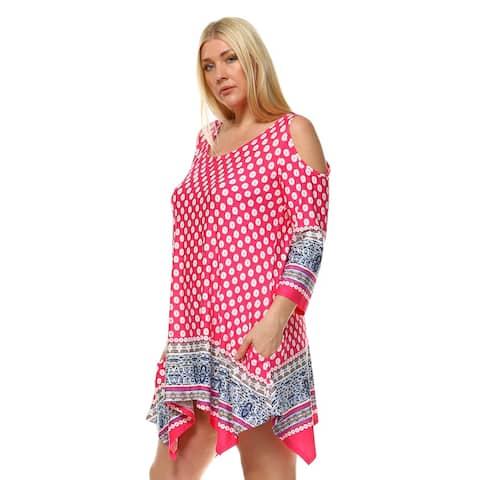 White Mark Women's Antonia Plus-size Cut-out Shoulder Tunic