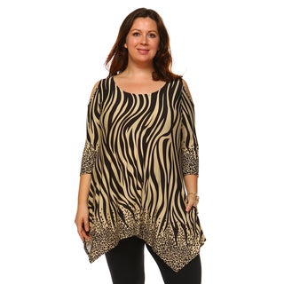 White Mark Women's 'Antonia' Mutlicolor Animal-print Polyester/Spandex Plus-size Cut-out-shoulder Tunic